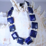 Men's Lapis Square Beaded Gemstone Stretch Bracelet in Lapis Lazuli Puff Square Beads with 925 Sterling Silver Corrugated Beads