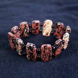 Red Porcelain Jasper Beaded Gemstone Stretch Bracelet in 5 x 15mm Rectangular Cubes with Antique 14K Gold Plated Heishi Beads- Latex Free- See Matching Earrings, Necklace & Set