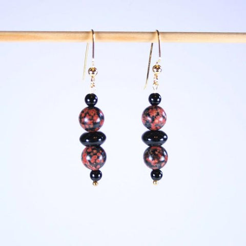 Mexican Red Snowflake Jasper Beaded Gemstone Earrings with 14K Gold Filled Angular Hook Ear Wires with 3mm Ball Ends- See Matching Stretch Bracelet, Necklace & Set