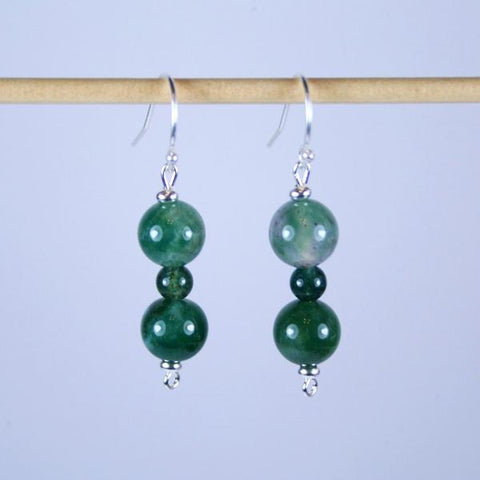 Moss Green Agate Beaded Gemstone Earrings with Silver Plated Roundels 925 Sterling Silver Filled Bali Hook Ear Wires with Ball Ends