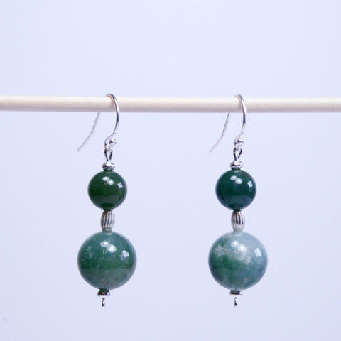Moss Agate & Silver Earrings