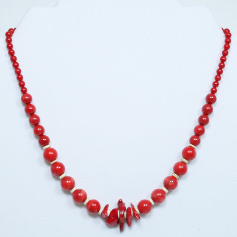 Bamboo Red Coral Beads & Chips w/ Sea Shell & Gold in Necklace