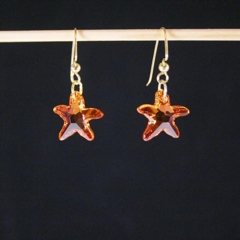 Orange Pink Starfish- Swarovski Faceted Crystal Starfish Earrings with Orange, Gold, Pink Shades and 14K Gold Filled Angular Hook Ear Wires with  Ball Ends- See Matching Pendant