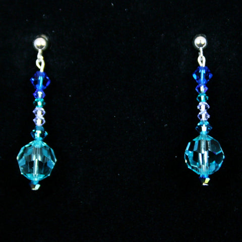 Swarovski Crystal Silver Post Earring with Turquoise, Aqua & Blue Crystals
