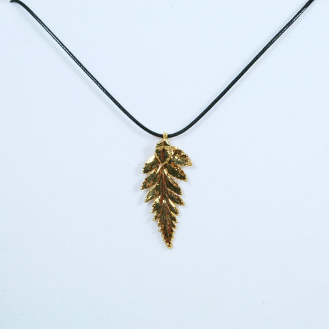 14k gold plated leaf pendant with black leatherette necklace barrel gold leaf pendant with black leatherette necklace aloadofball Choice Image