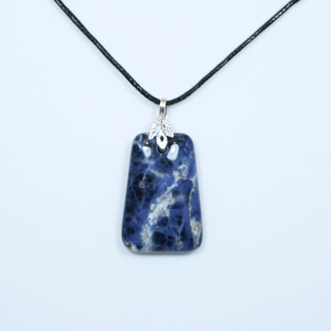 Blue & White Sodalite Trapezoid Pendant w/ Silver Leaf & Black Leather Necklace