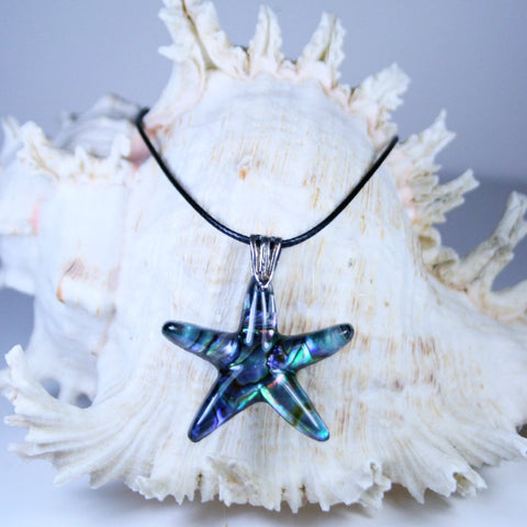 Paua Starfish Pendant with Black Leatherette Necklace