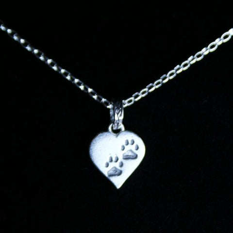 925 Sterling Silver Paw Print Heart Pendant with Antique Silver Plated Brass Locking Jump Ring Bail in Leaf Motif and 925 Sterling Silver Filled Small Rolo Chain and Lobster Claw Clasp