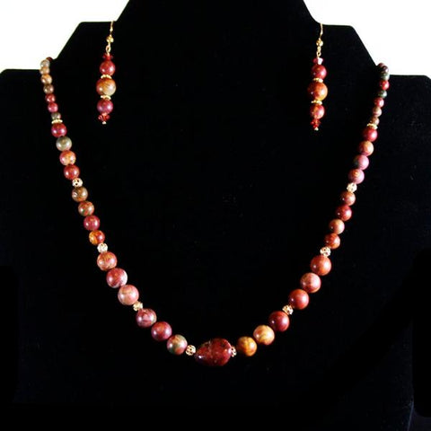 Picasso Party Jasper Beaded Gemstone 3 Piece Jewelry Set with Swarovski Crystals, 14K Gold Filigree Beads including Necklace, Drop Earrings & Double Strand Stretch Bracelet with Gold Bars