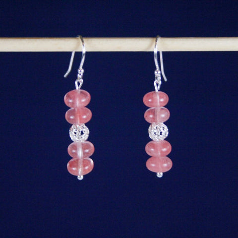 Pink Cherry Quartz Earrings