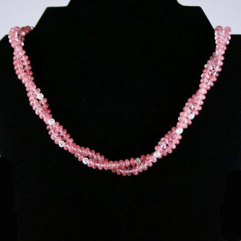 Pink Cherry Quartz Beaded Gemstone Double Strand Twisted Necklace with 925 Sterling Silver Filled Filigree Beads and Pearl Tab Clasp- See Matching Earrings, Double Drilled Stretch Bracelet and Set