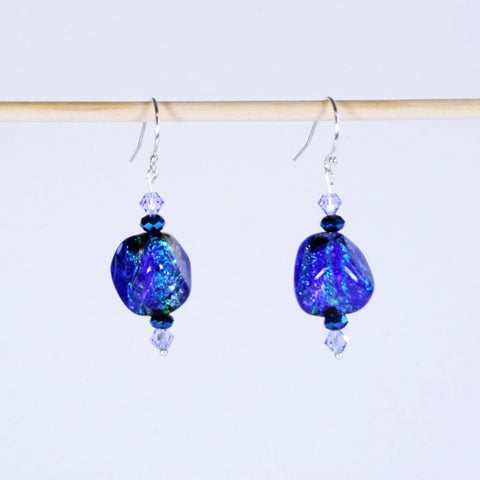 Paula Radke 13mm Blue Black Hot Glass Earrings
