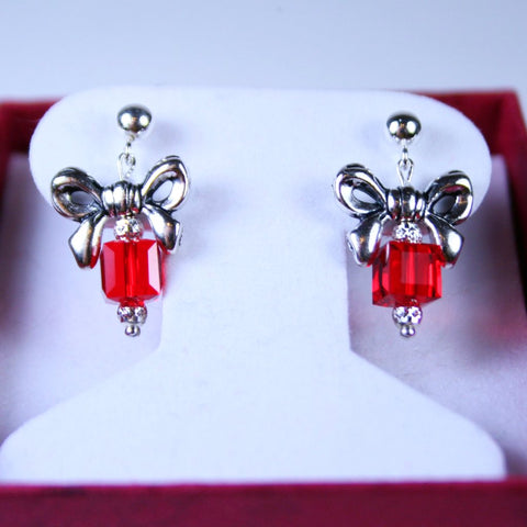 Antique Silver Bow Red Swarovski Gift Post Earrings