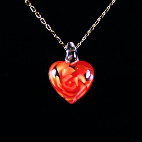 Red Floral Puffed Glass Heart Pendant
