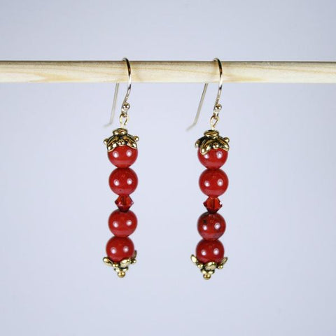 Red Jasper Janie Beaded Gemstone Earrings with 14K Antique Gold End Caps, Swarovski Faceted Bicone Red Crystal and 14K Gold Filled Bali Hook Ear Wires with Ball Ends