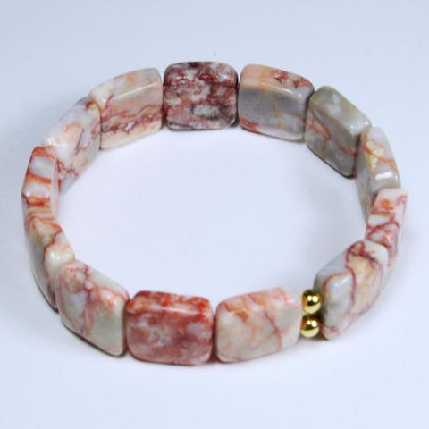 Men's Pink Peach Redline Marble Beaded Gemstone Double Drilled Squares Stretch Bracelet- Latex Free