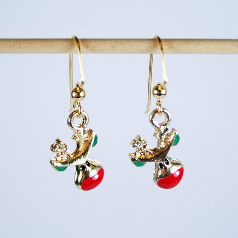 Rudolph Christmas Earrings in 14K Gold over Pewter