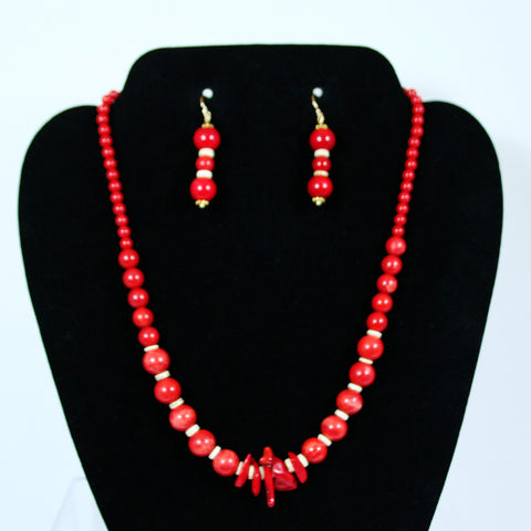 Necklace Set with bamboo Red Coral, Sea Shell & Gold Accents