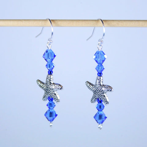 Sapphire Crystal and Silver Starfish Earrings
