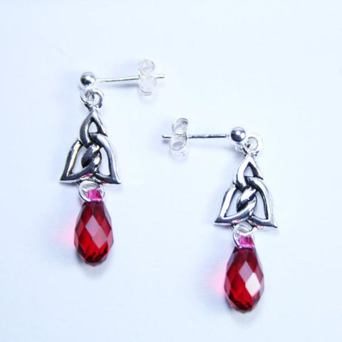 Celtic Knot 925 Antique Sterling Silver Link Post (Stud) Earrings with Swarovski Scarlet Teardrop Crystal Briolettes and 925 Sterling Silver Post (Stud) Ear Wires with 3mm Ball Ends- See Bali Hooks Listed Separately