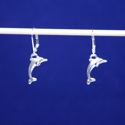 Silver Dolphin Leverback Earrings