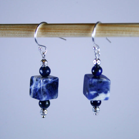 Sodalite Cube and Lapis Lazuli Earrings with Sterling Silver