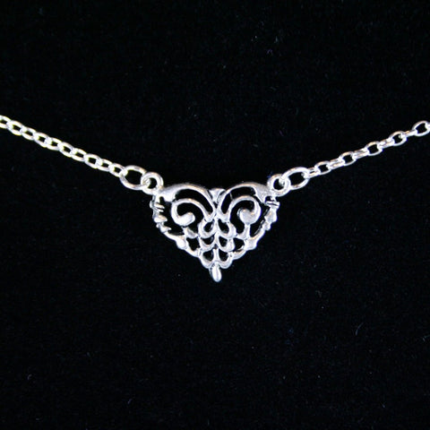 Antique Silver Pewter Heart Pendant