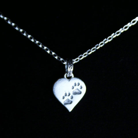 Sterling Silver Pet Paw Heart Pendant with Chain