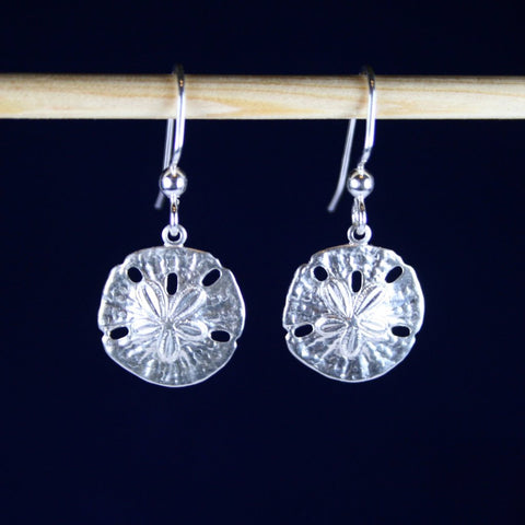 Bright 925 Sterling Silver Hammered Sand Dollar Earrings