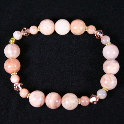 Sunstone Sandy Beaded Gemstone Stretch Bracelet in Peach Sunstone with Swarovski Crystal and Gold Accents- Latex Free- See Matching Earrings, Neckl;ace and Set