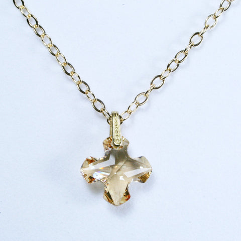 Swarovski Crystal Gold Greek Cross Pendant