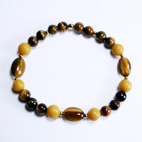 Men's Tiger's Eye, Yellow Marble Beaded Gemstone Stretch Bracelet with Gold Plated Roundel Beads- Latex Free