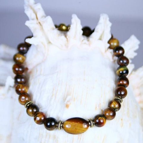 Men's Tiger's Tale Gemstone Beaded Stretch Bracelet in Highly Polished Tiger's Eye Round Beads with Antique 14K Gold Filled Twist Spacer Beads and Closure Bead- See Matching Earrings and More Stretch Bracelets