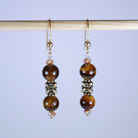 Tiger's Eye Antique Gold Beaded Earrings