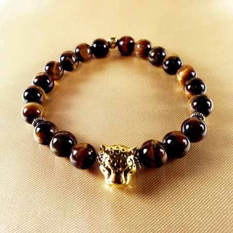 Tiger's Eye Beaded Stretch Bracelet with Antique Gold Leopard Head