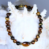 Tiger's Eye Gold Bar Beaded Gemstone Stretch Bracelet in Highly Polished Tiger's Eye Round Beads with Antique Gold Twist Heishi Beads and Closure Bead- See Matching Earrings and More Stretch Bracelets