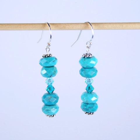 Turquoise Tales Faceted Beaded Gemstone Earrings with Swarovski Crystal Accents
