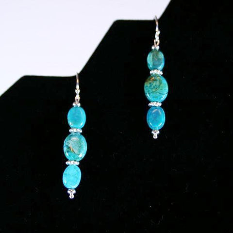 Turquoise Waters- Turquoise Beaded Gemstone Earrings with 3 Oval Beads, Bright 925 Sterling Silver Filled Twist Heishi Beads Accent and 925 Sterling Silver Filled Bali Hook Ear Wires with Ball Ends- See Matching Beaded Necklace, Set, Stretch Bracelet