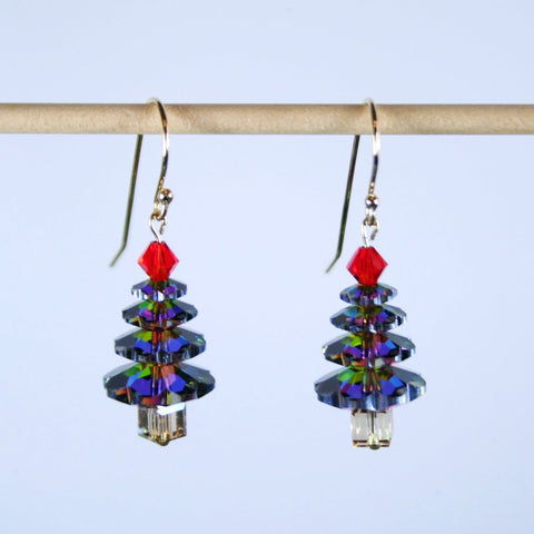 Vtrrail Crystal Christmas Tree Earrings