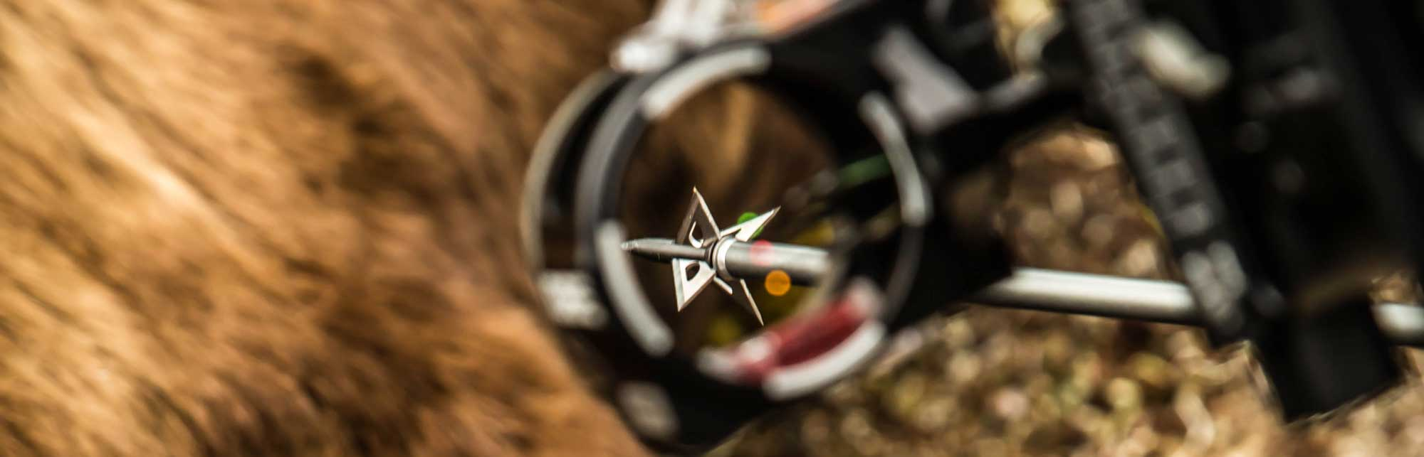 Slick Trick Broadheads - arrow with broadhead sighted through CBE sight
