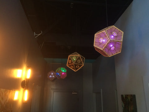 Lanterns hanging at Blackhammer Brewing