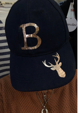 Bradley Inc Navy Cap- Rose gold B + Deer