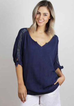 Blue woven top