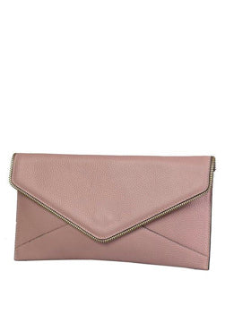 Castlecrag leather clutch- Blush