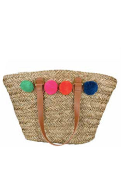 Pom Pom basket beach bag