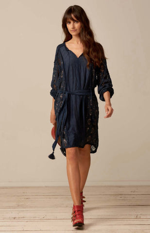 Binny-Soapstone Silk Cotton Lace dress- Navy