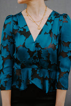 Load image into Gallery viewer, ElleJay Teal/Black Gabby Burnout Blouse