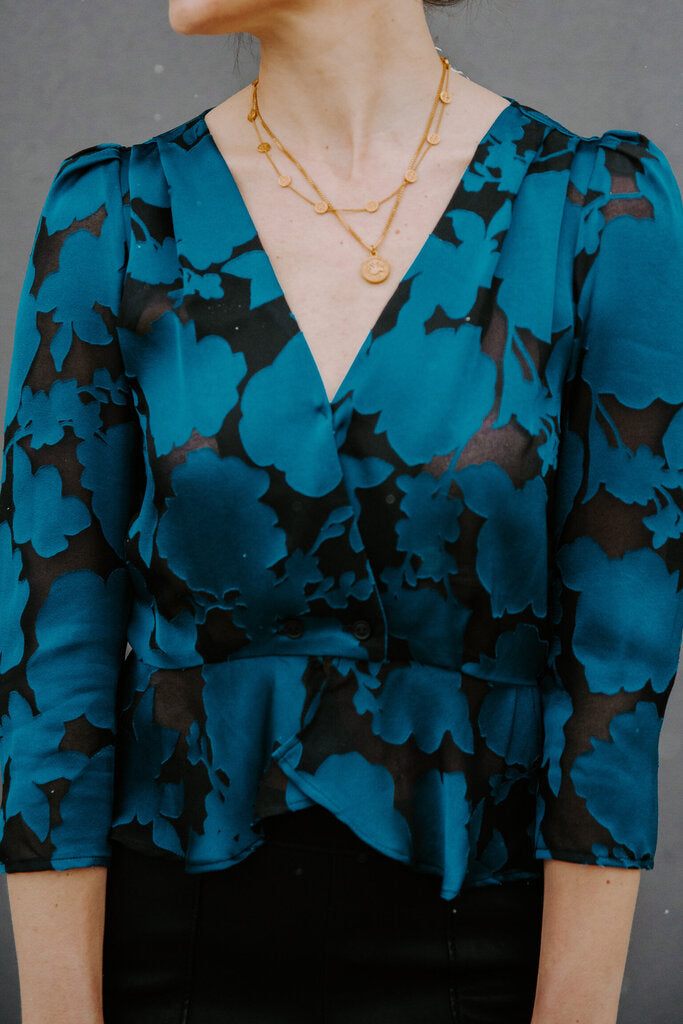 ElleJay Teal/Black Gabby Burnout Blouse