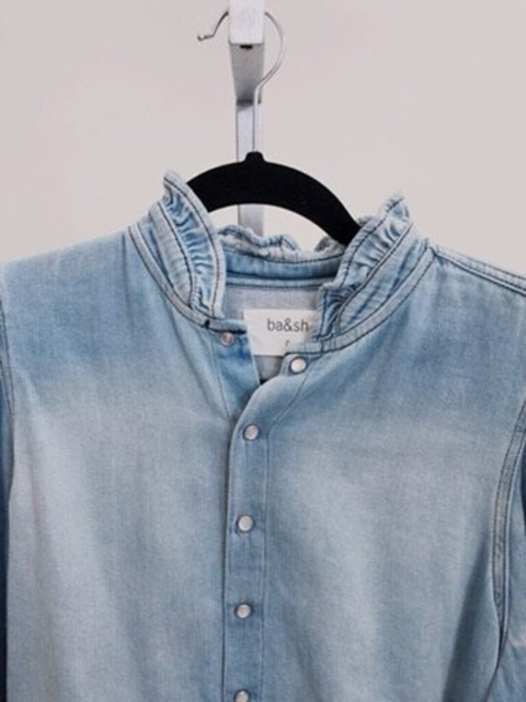 BA&SH Ruffle Collar Chambray Shirt SIZE XS