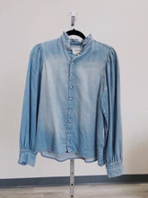 Load image into Gallery viewer, BA&SH Ruffle Collar Chambray Shirt SIZE XS